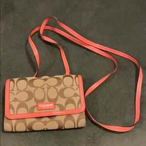 Coach Crossbody Tan with Pink Leather